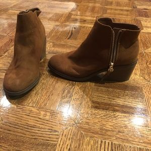 Tan Heeled Ankle Boots with Zippers